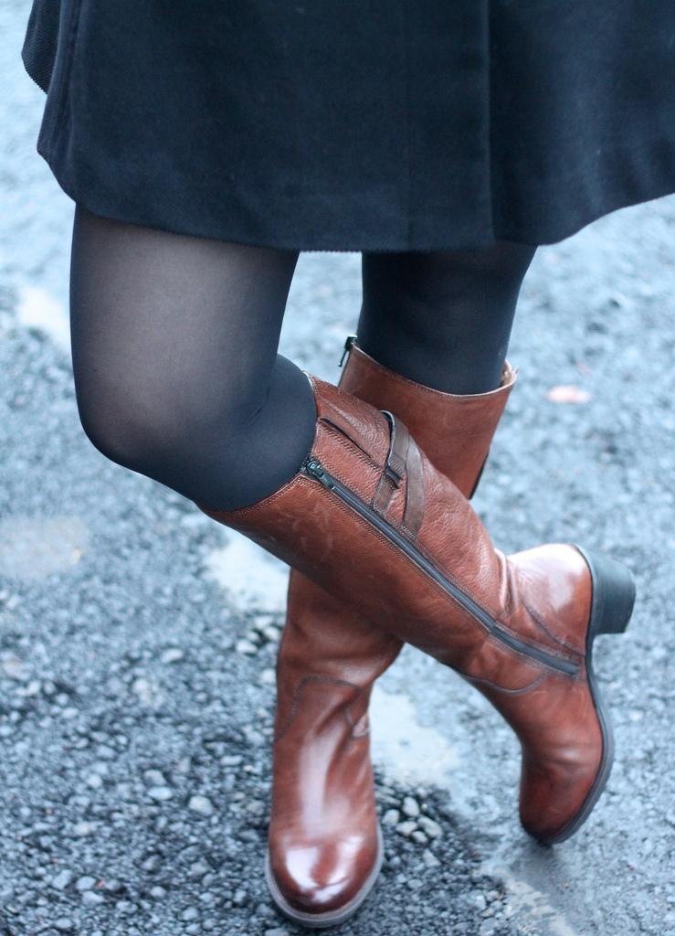 Miss Selfridge fur collar coat with Clarks boots