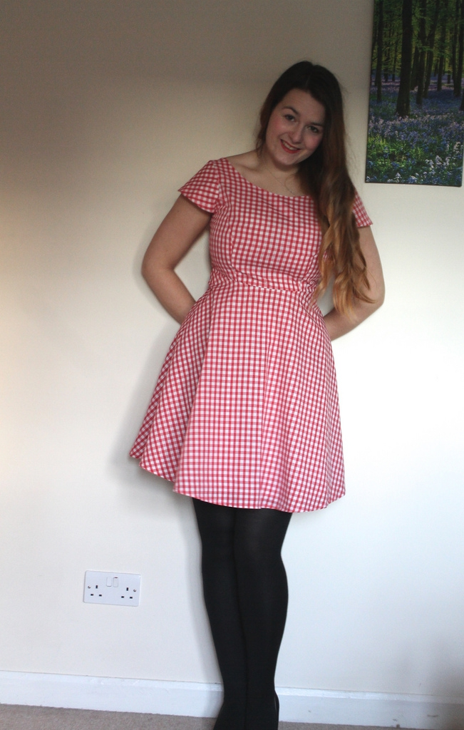 Gingham full skirted Great British Sewing Bee dress
