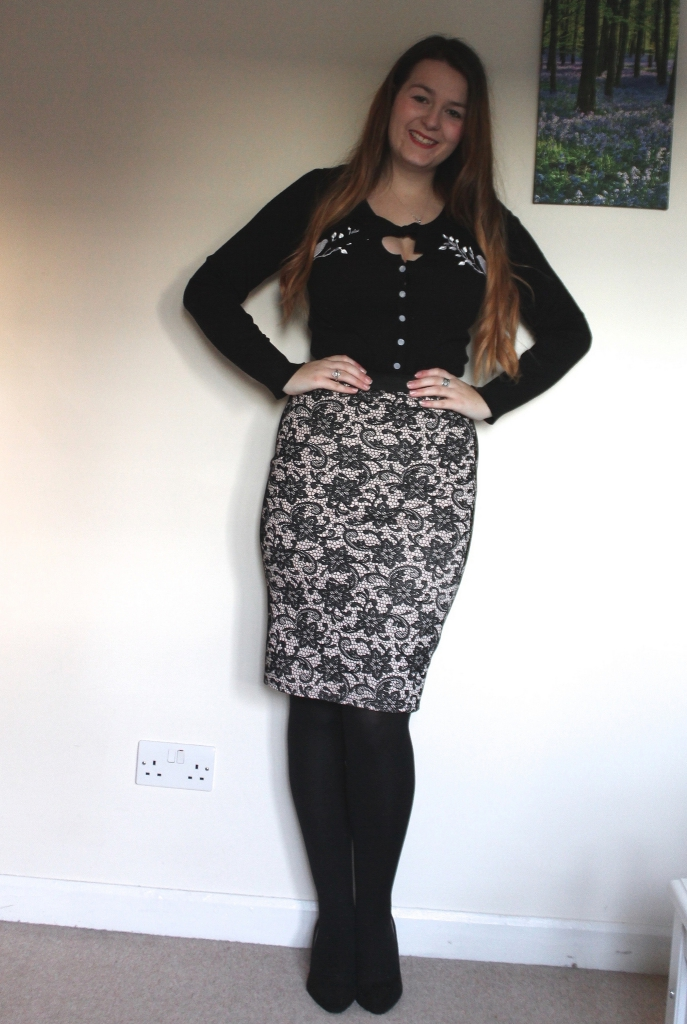 Voodoo Vixen cardigan with pencil skirt