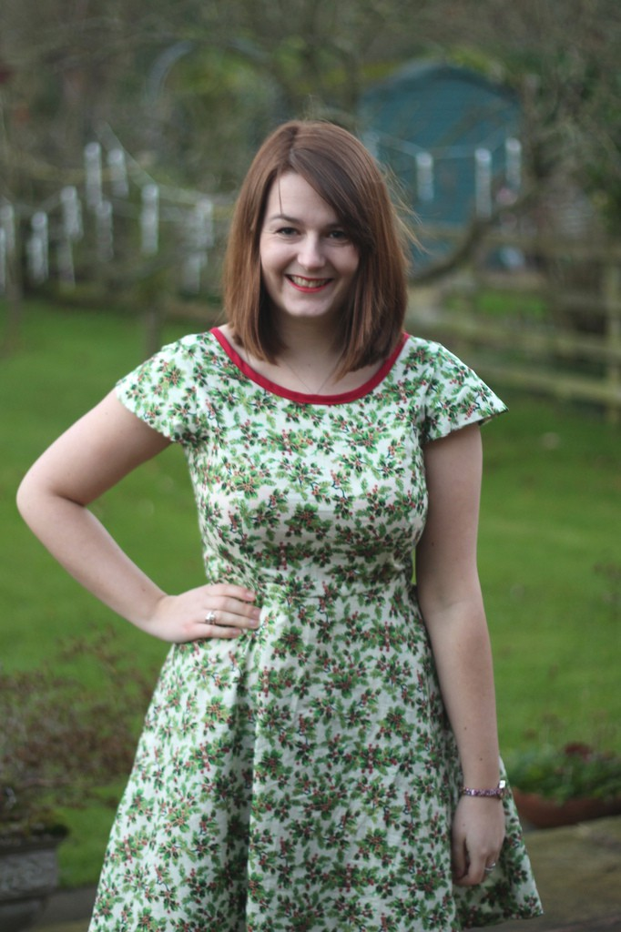 Christmas day full skirted holly dress via Great British Sewing Bee book