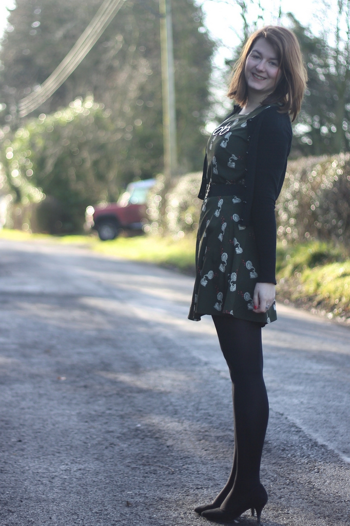 sugarhill boutique dress with hell bunny caridigan