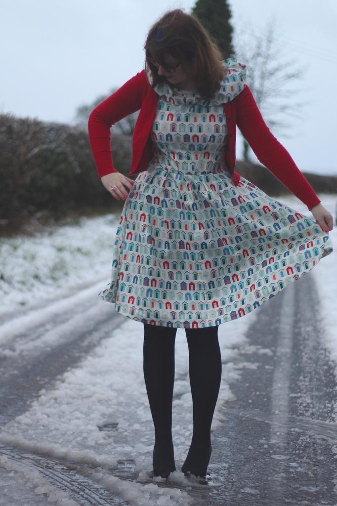 simplicity dress with beach hut fabric