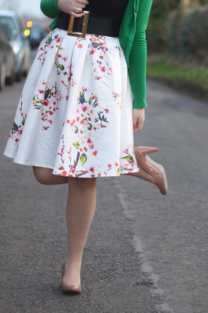 cherry blossom skirt with nude heels