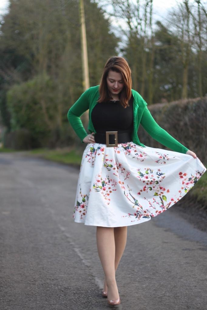 cherry midi skirt
