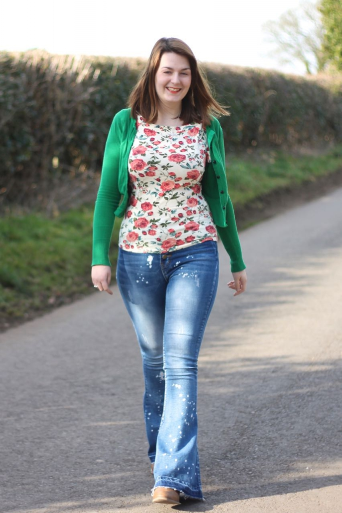 flared jeans with floral top