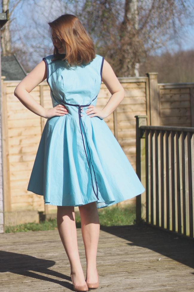 Blue Polka Dot Walkaway dress