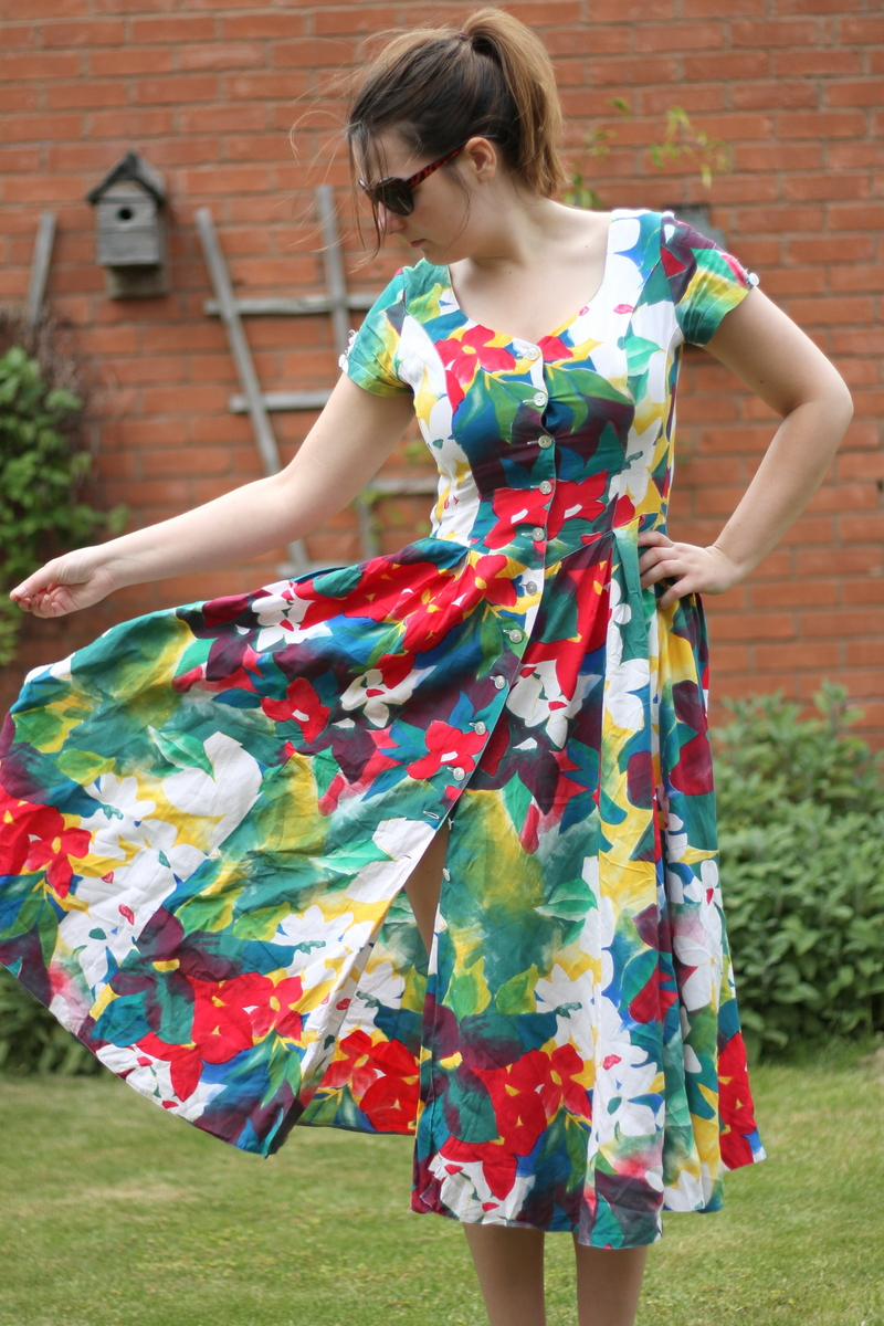 vintage floral dress with new look sandals