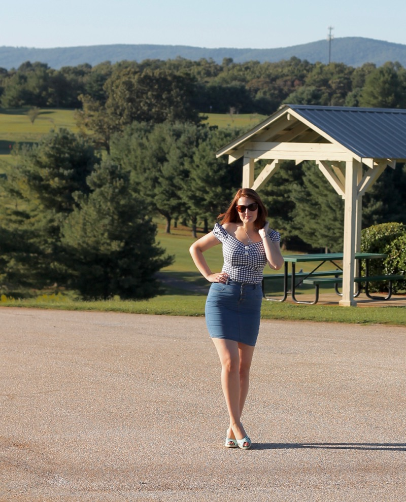 Collectif gingham Dolores top with denim skirt