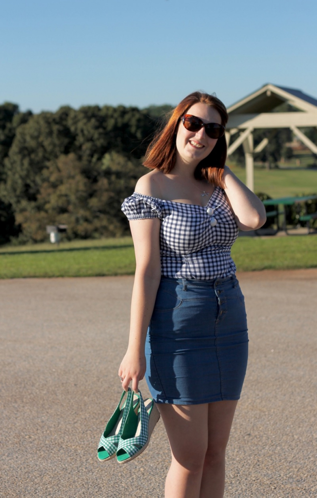 Collectif gingham top, gingham wedges