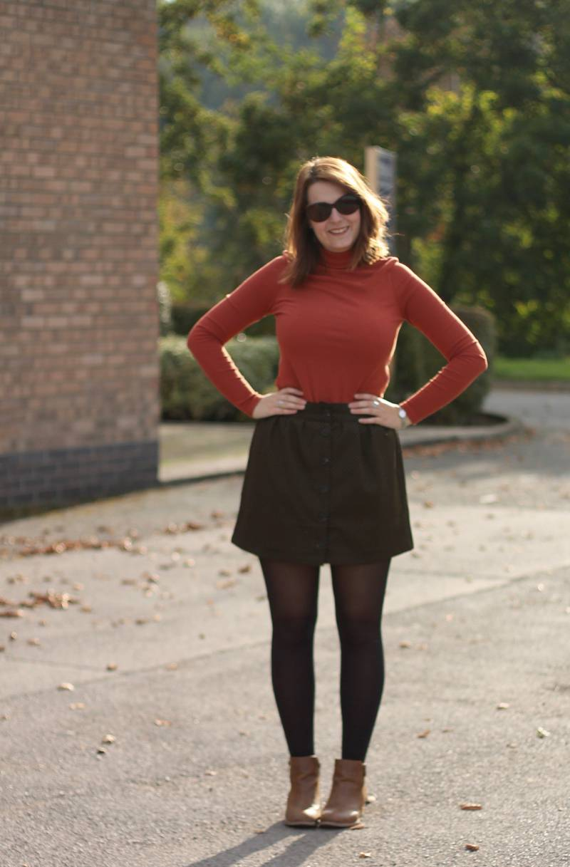 Autumn Uniform - roll neck top, Urban Outfitters skirts, ankle boots