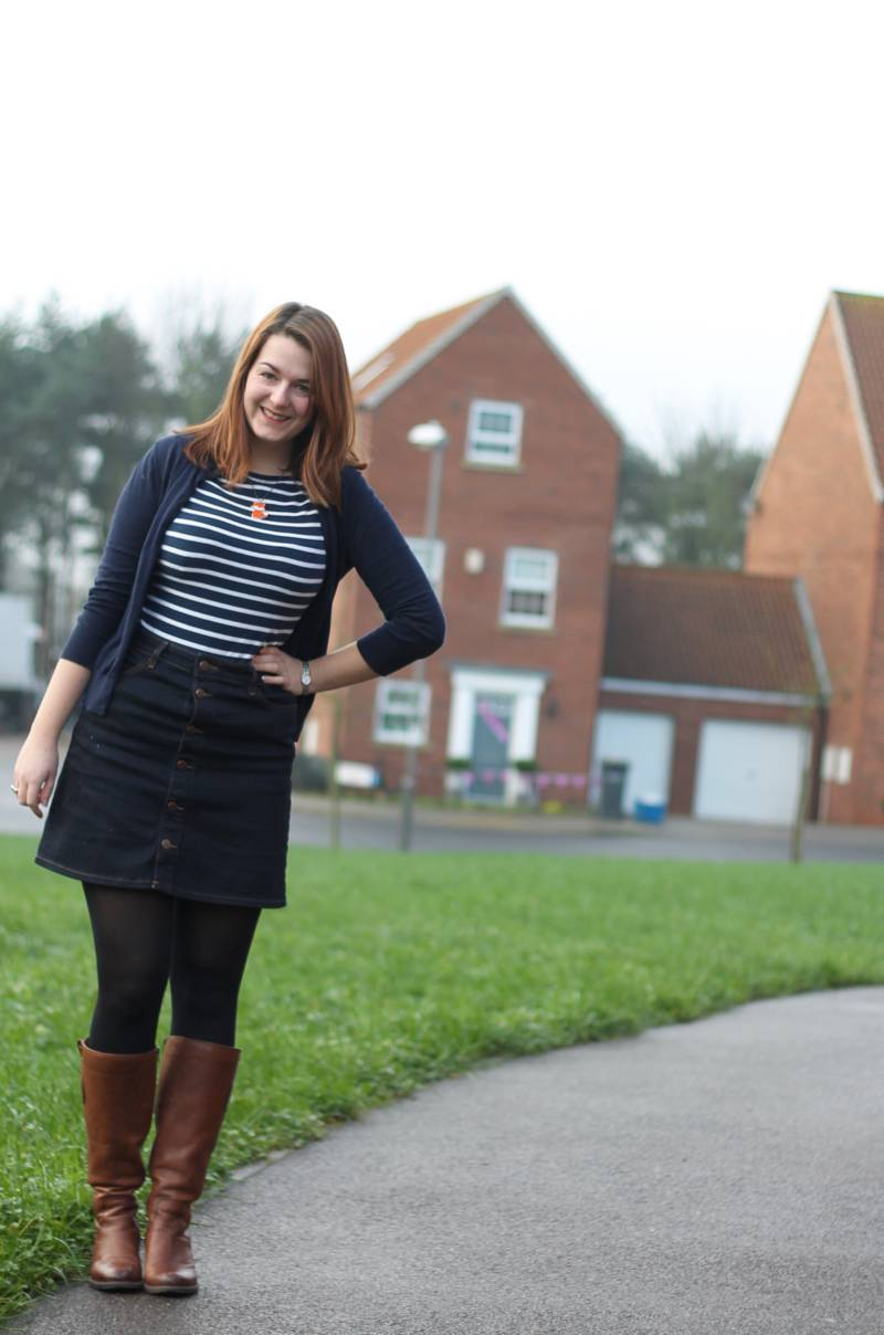 Denim A Line skirt outfit with boots