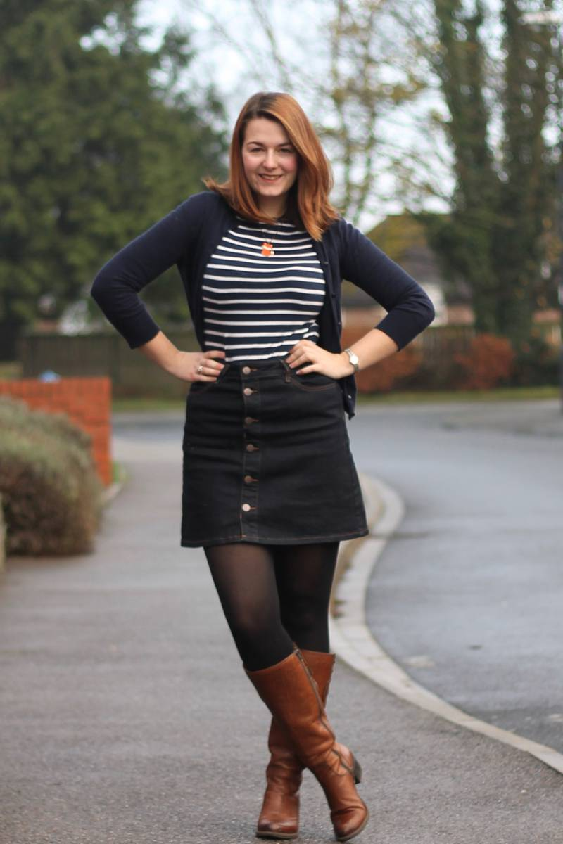 Outfit: Denim A Line Skirt & Leather Boots