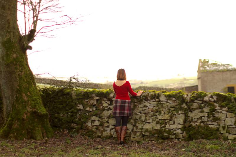Peak District outfit with tartan skirt