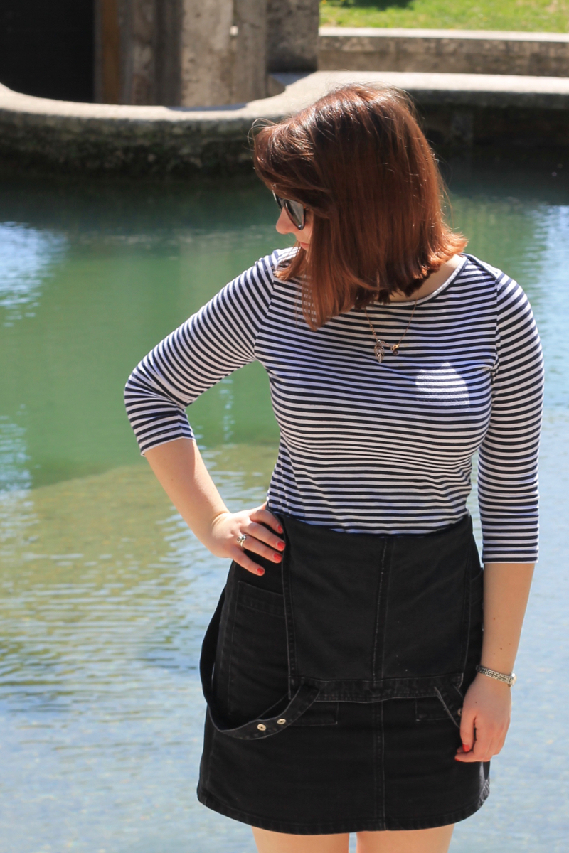 Dungarees and striped top outfit