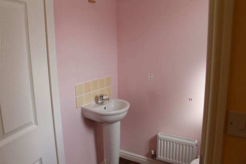 Pink downstairs bathroom