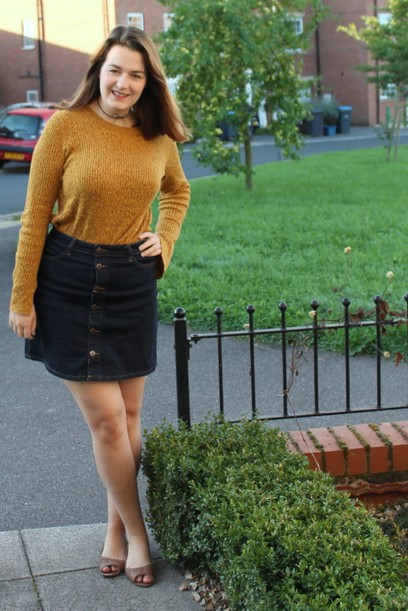 Yellow Jumper, denim skirt