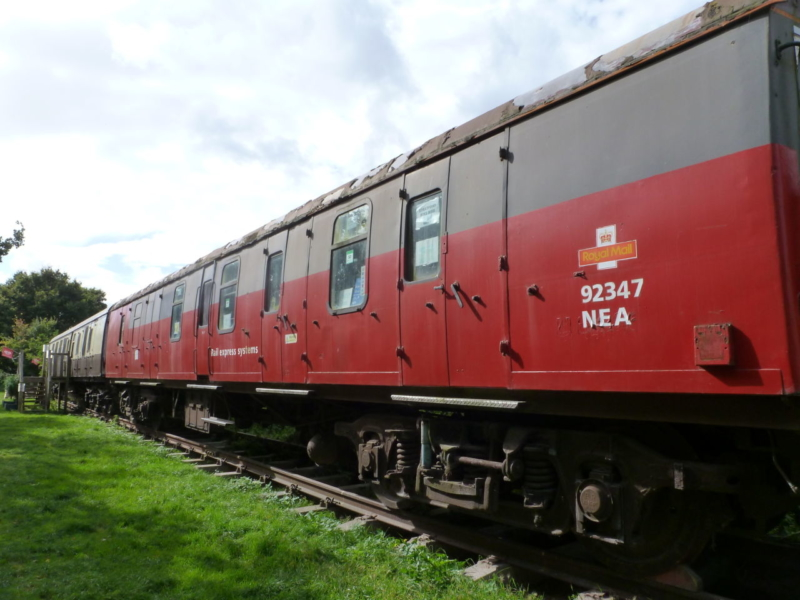 Old Royal Mail train carriage on river walk to Stratford