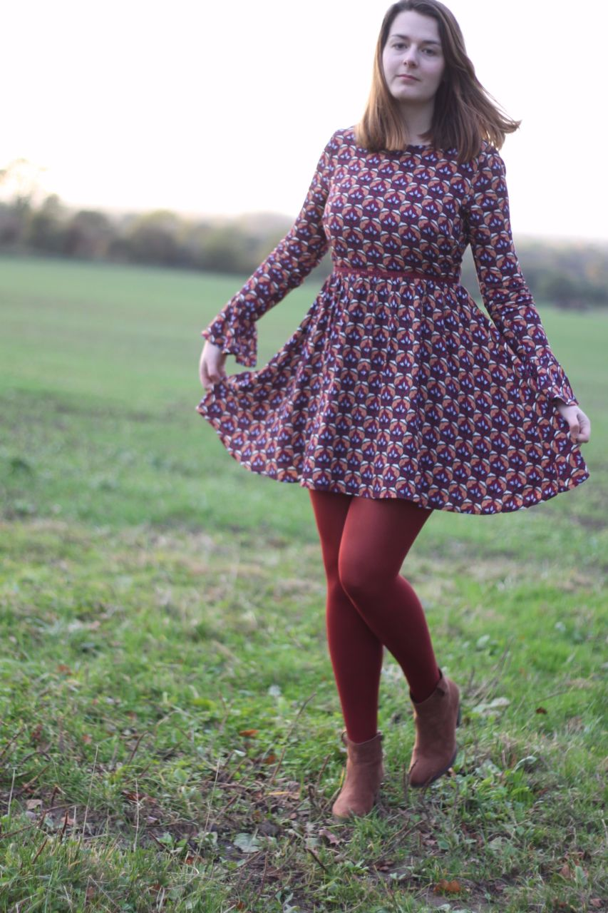 Glamorous Skater Dress with burnt red tights