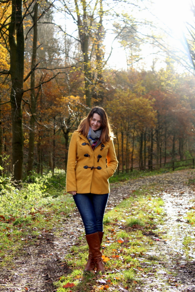 Winter outfit - jeans & mustard coat