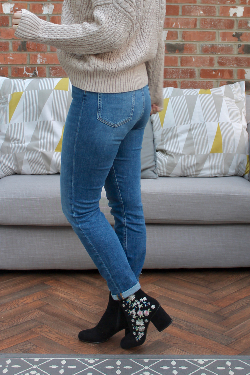 ASOS Farleigh jeans, blush cable knit jumper & embroidered ankle boots outfit
