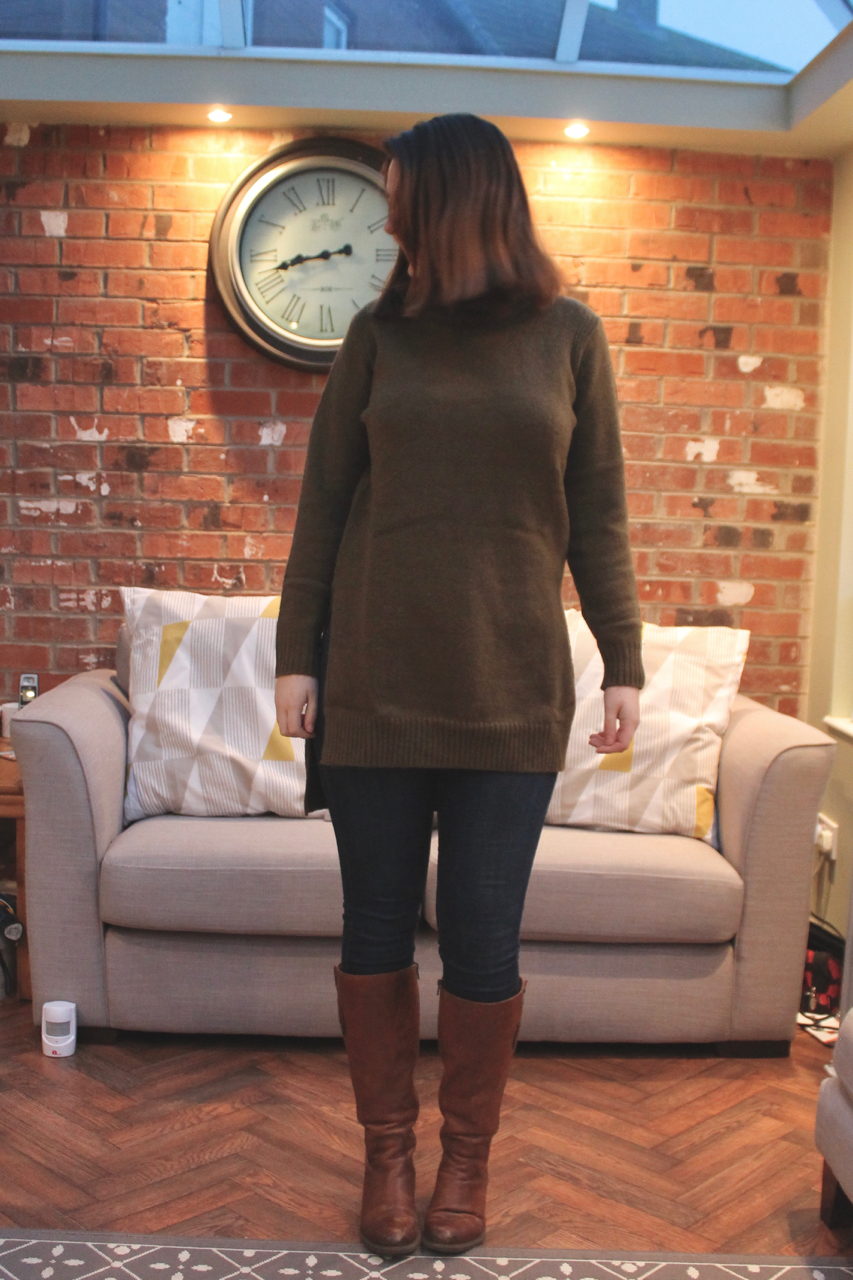 Simply Be khaki jumper with skinny jeans & boots
