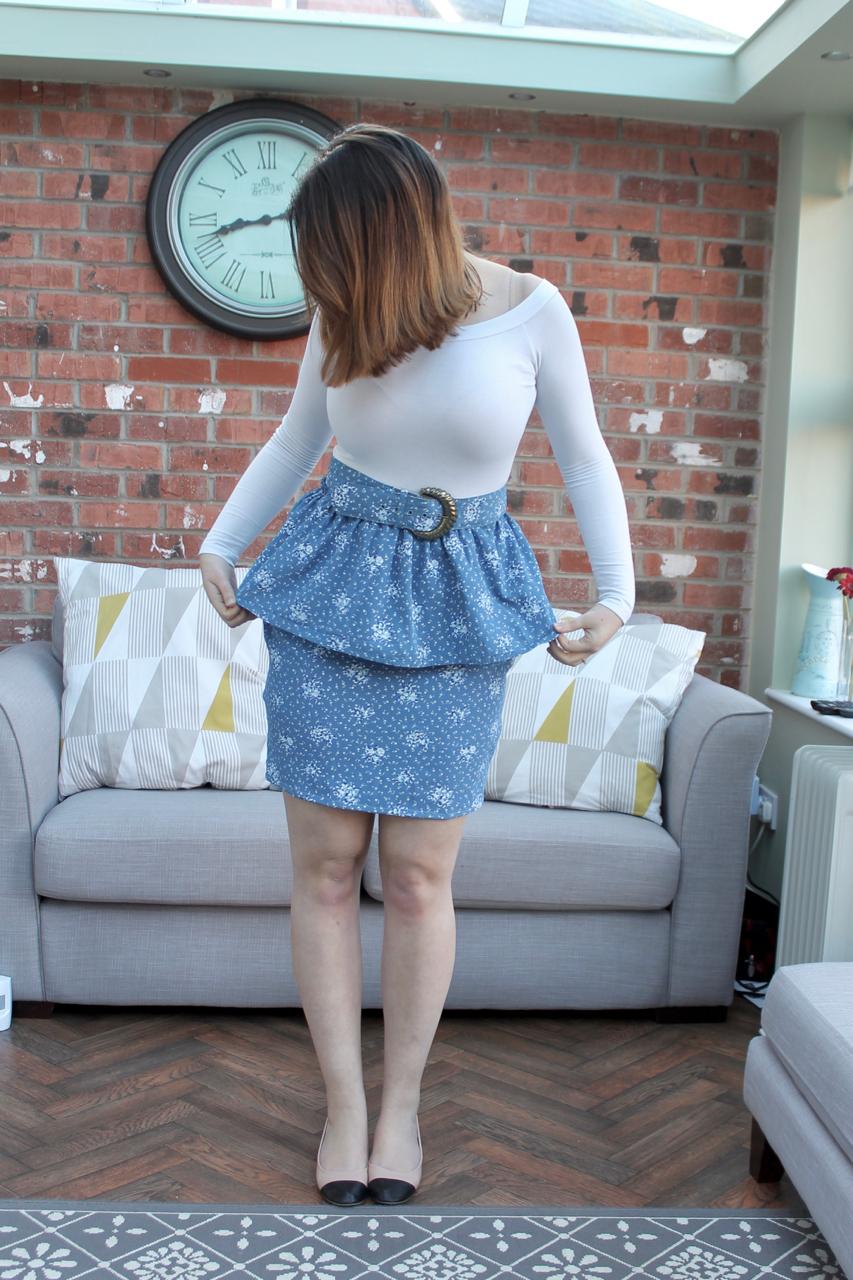 Ugly Vintage dress refashion into peplum skirt
