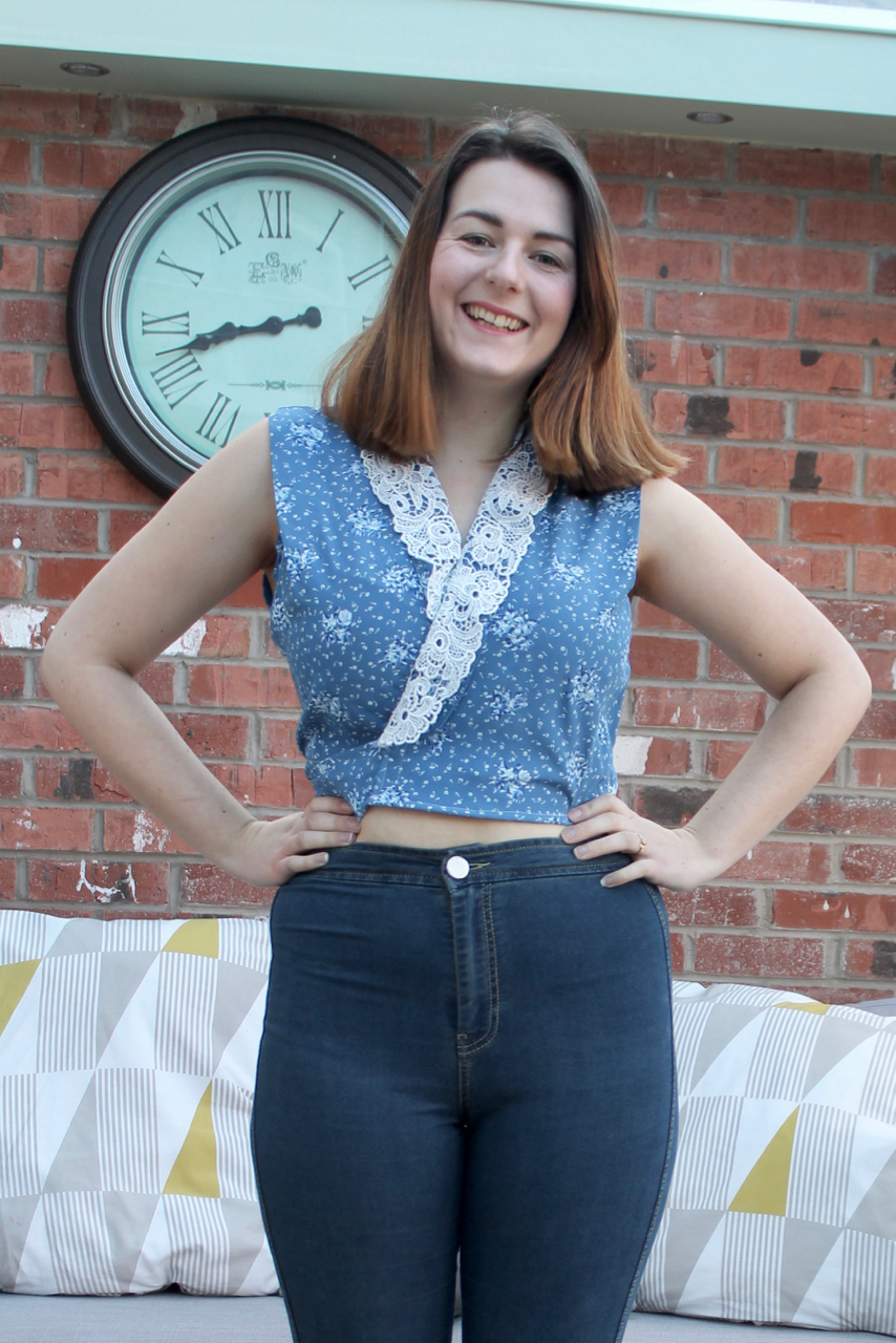 Ugly Vintage dress refashion into wrap crop top