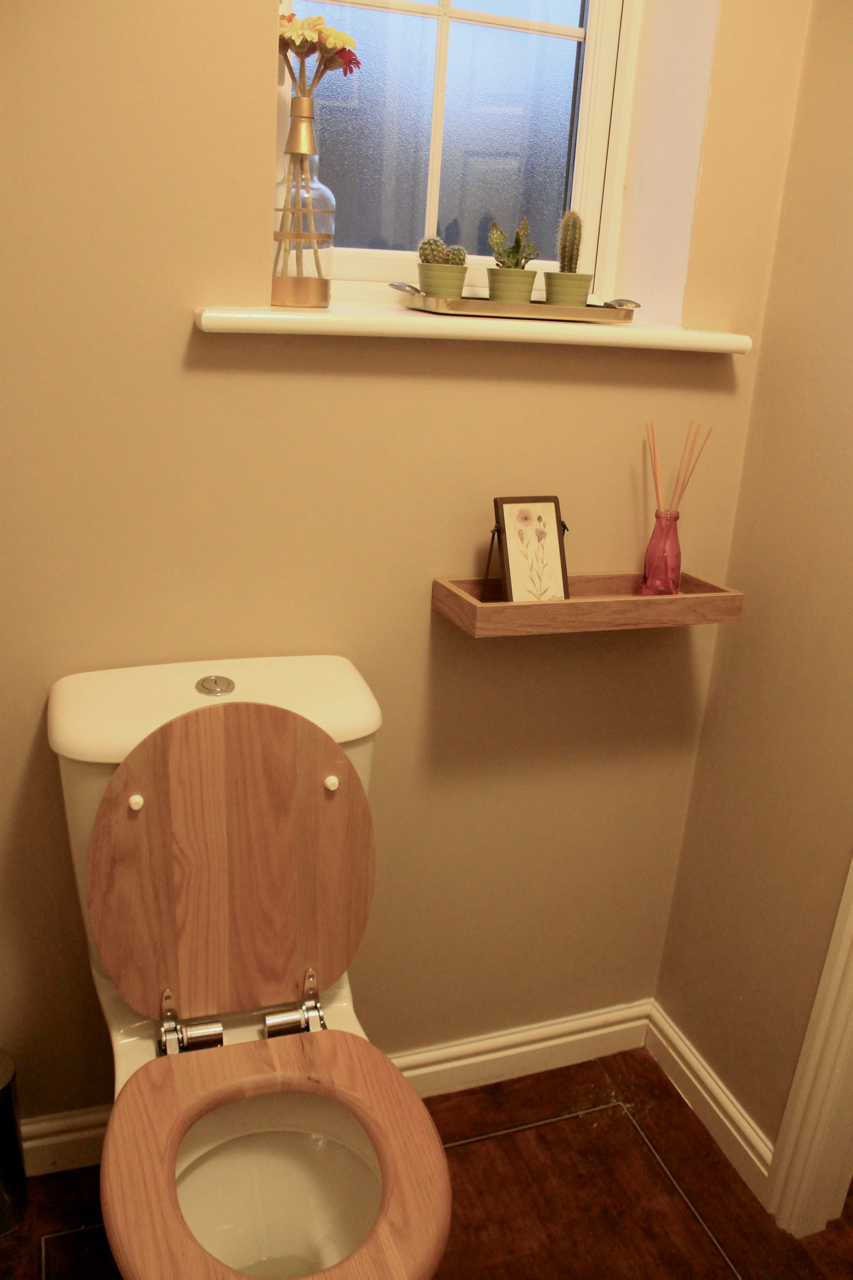 Downstairs Bathroom renovation: after - Great Gatsby quote & hexagon shelf