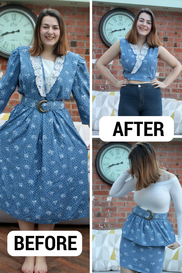 Transforming an ugly vintage dress BEFORE AFTER
