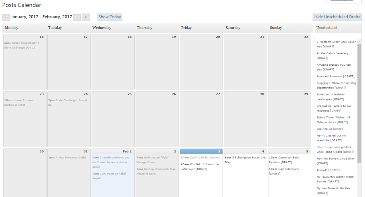 Wordpress Editorial Calendar plug in