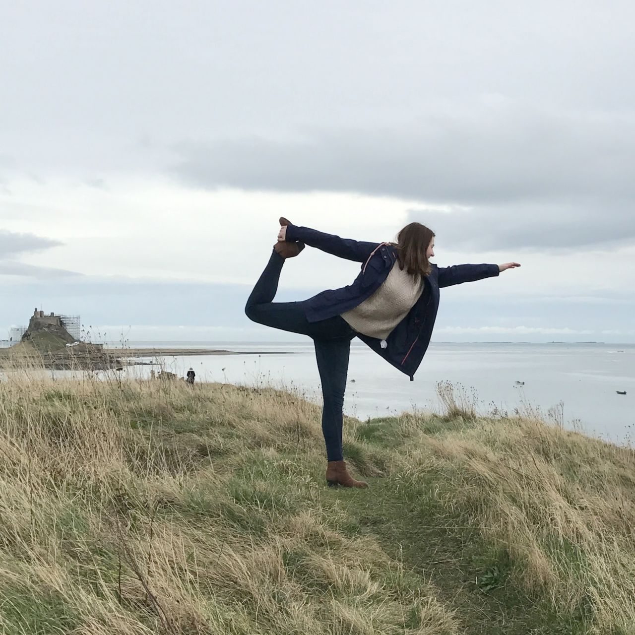 Dancer pose on Lindisfarne