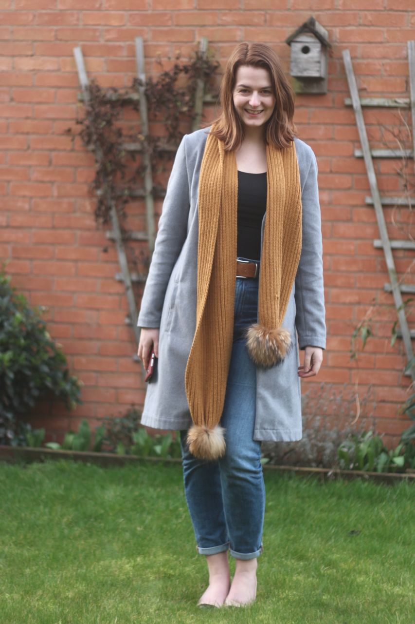 Grey Simply Be Coat, Jeans & Mustard Scarf outfit
