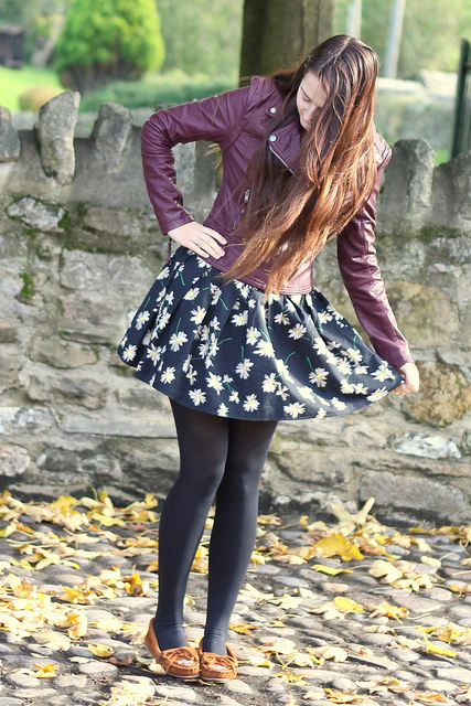 Leather jacket short skirt