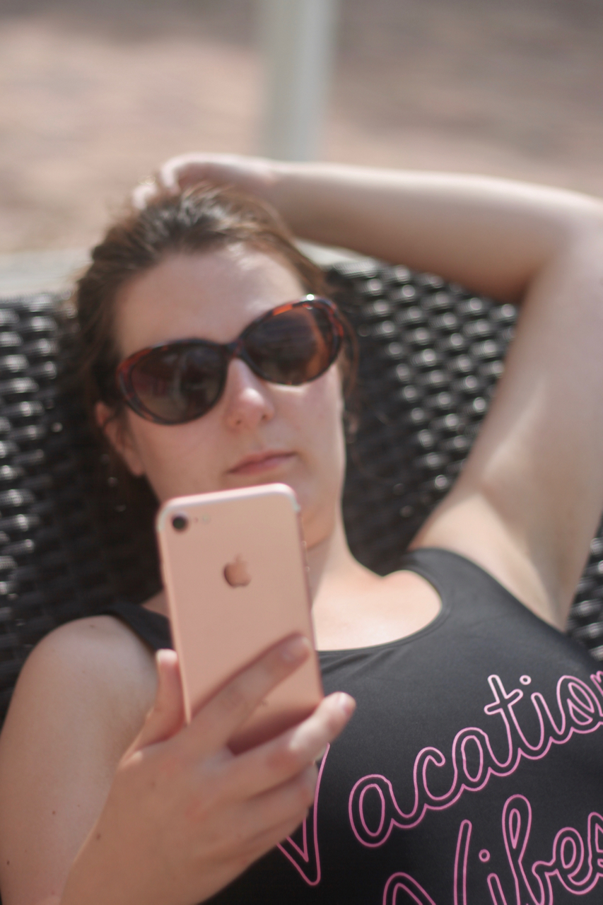 Using an iPhone abroad - Three Go Roam: Feel at Home. Primark Vacation Vibes swimsuit