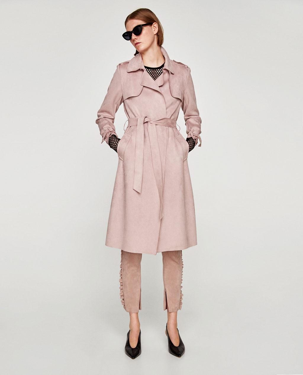 Zara Pink Suede Trench Coat