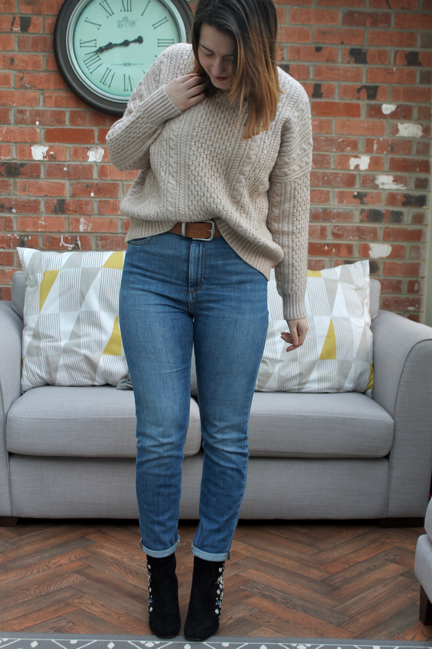 Jeans & woolly jumper with embroidered boots workwear