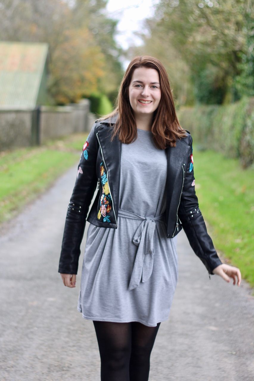 Embroidered leather jacket with grey T shirt dress outfit - LOTD review & Pretty Little Thing review