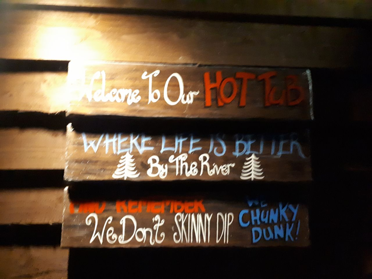 Welcome to our hot tub sign