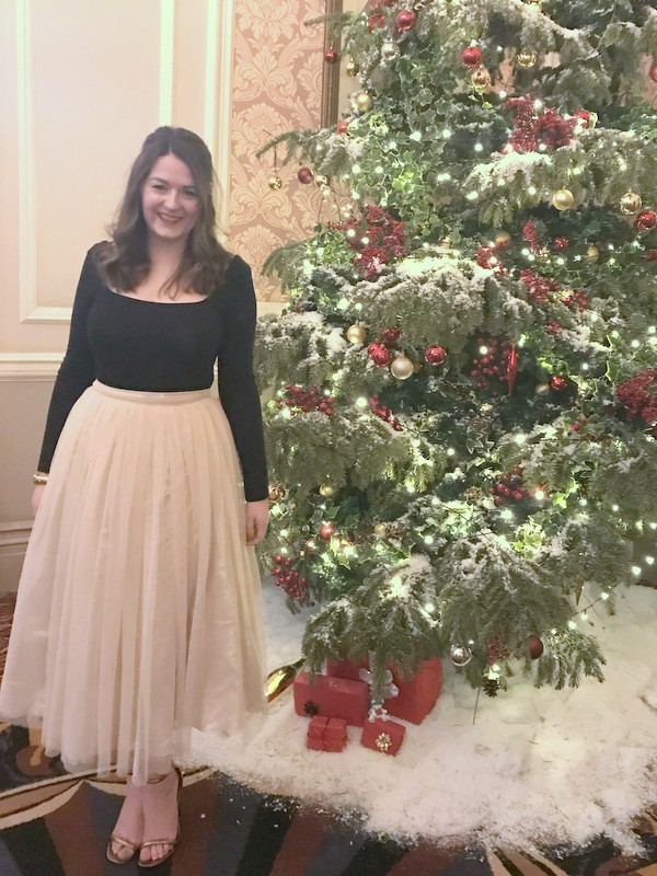 Bronco Christmas Party 2017 outfit - tutu skirt & bodysuit