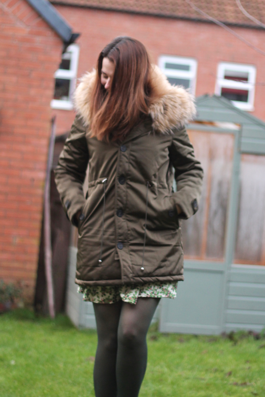 Miss Pap parka & Great British Sewing Bee shift dress - Holly Christmas dress