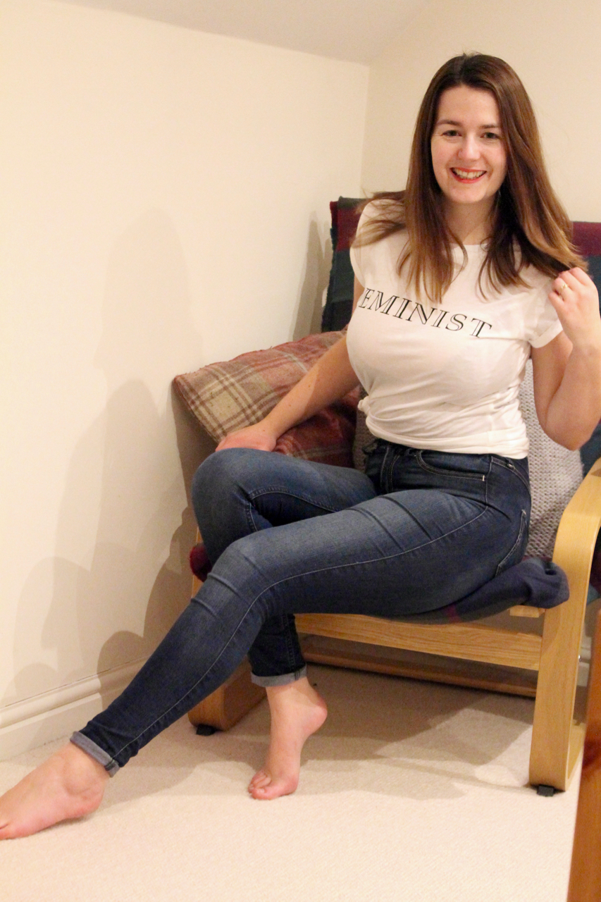 Feminist T shirt outfit with jeans