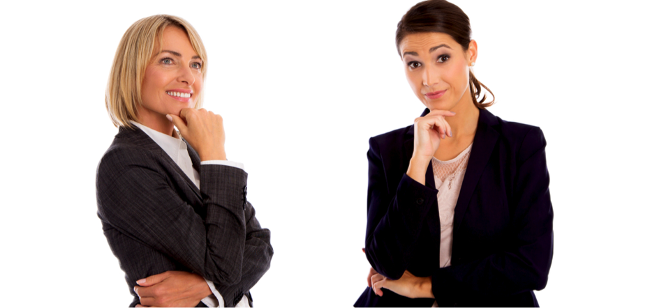 Image of two women with suits in a thinking pose