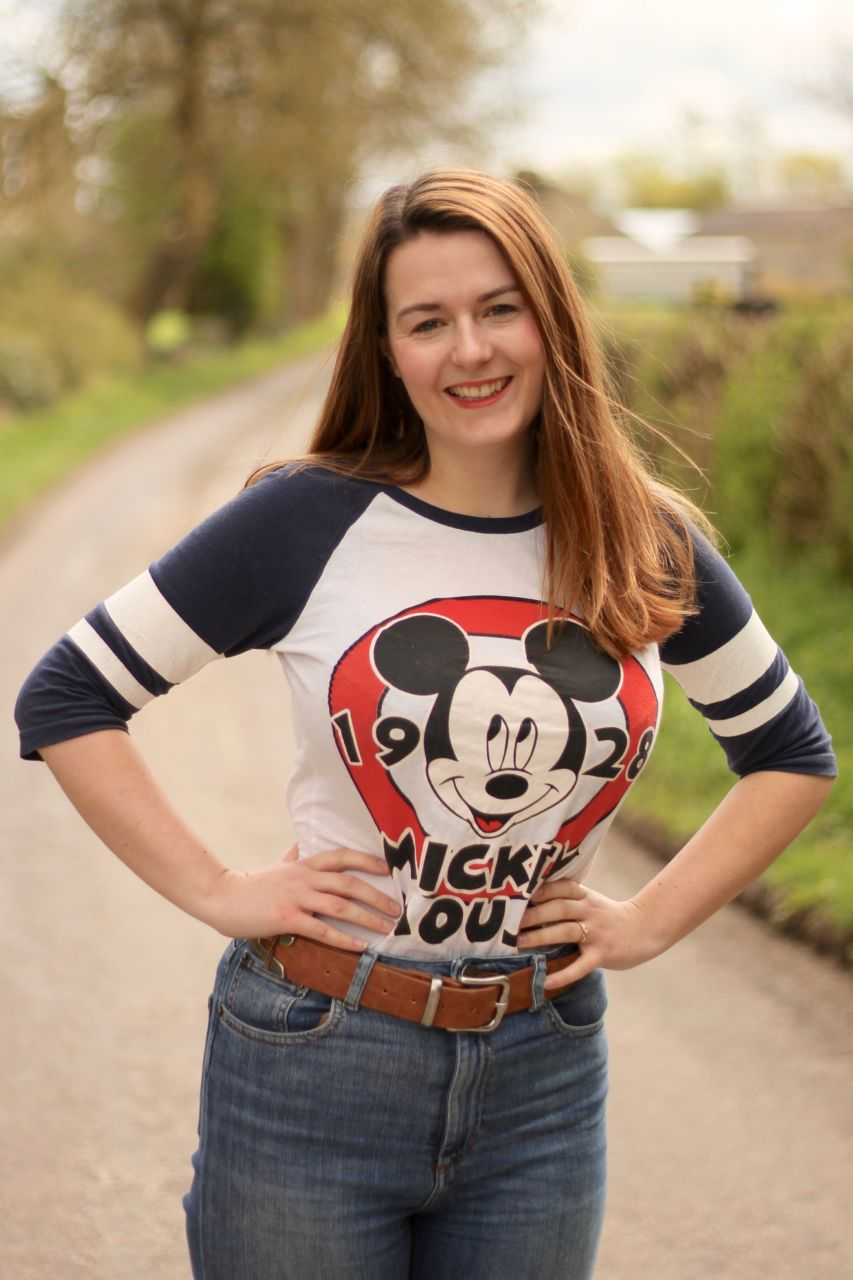 Mickey Mouse baseball tee outfit at Byland Abbey