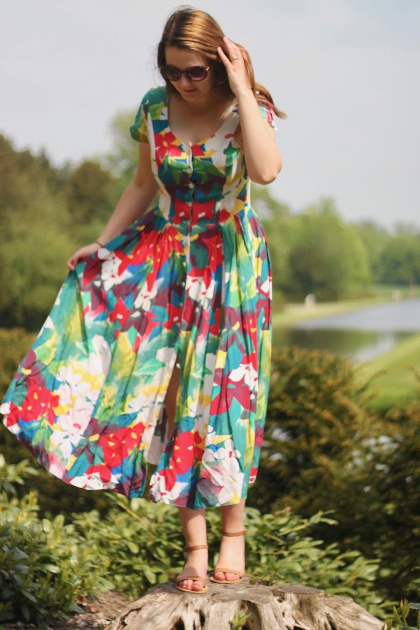 Vintage dress at Studley Royal Water Gardens