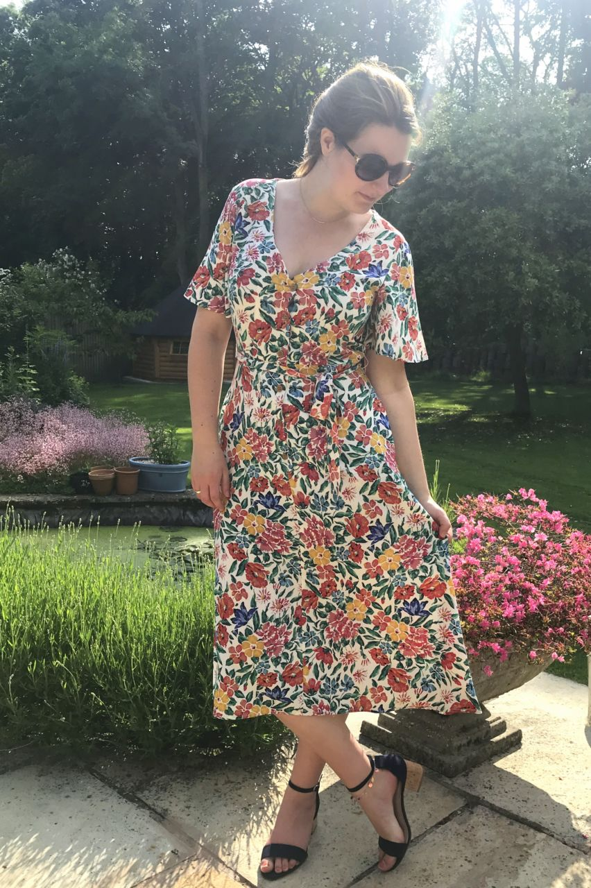 Mango 1930s style floral dress outfit