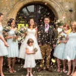 Newburgh Priory wedding confetti shot