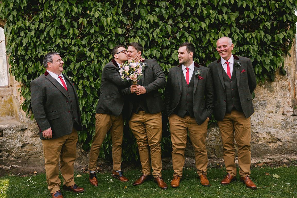 Yorkshire wedding groomsmen - tweed jackets, waistcoats & chinos