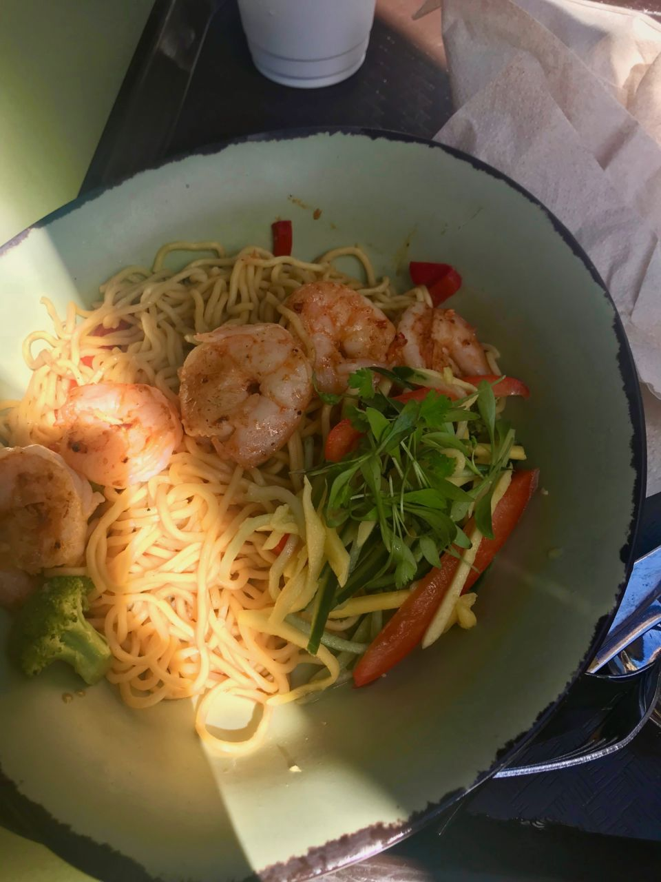 Animal Kingdom Pandora Satu'li Canteen dining review - shrimp & noodle bowl