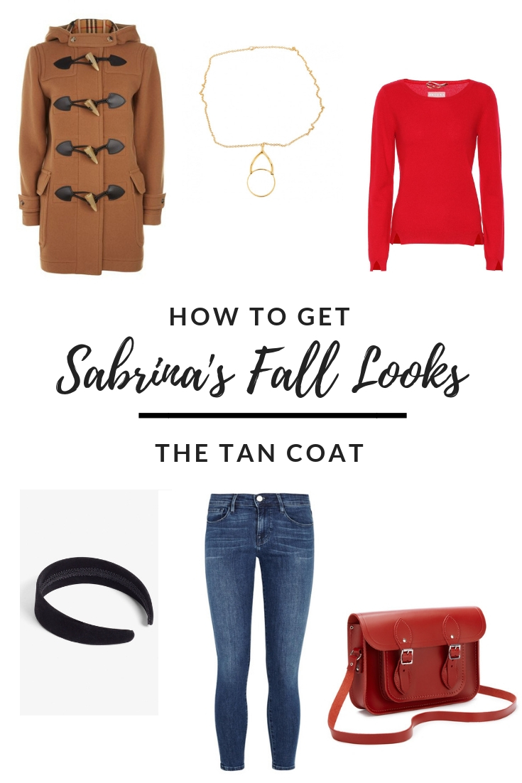 Sabrina's Tan Duffel Coat outfit - how to get