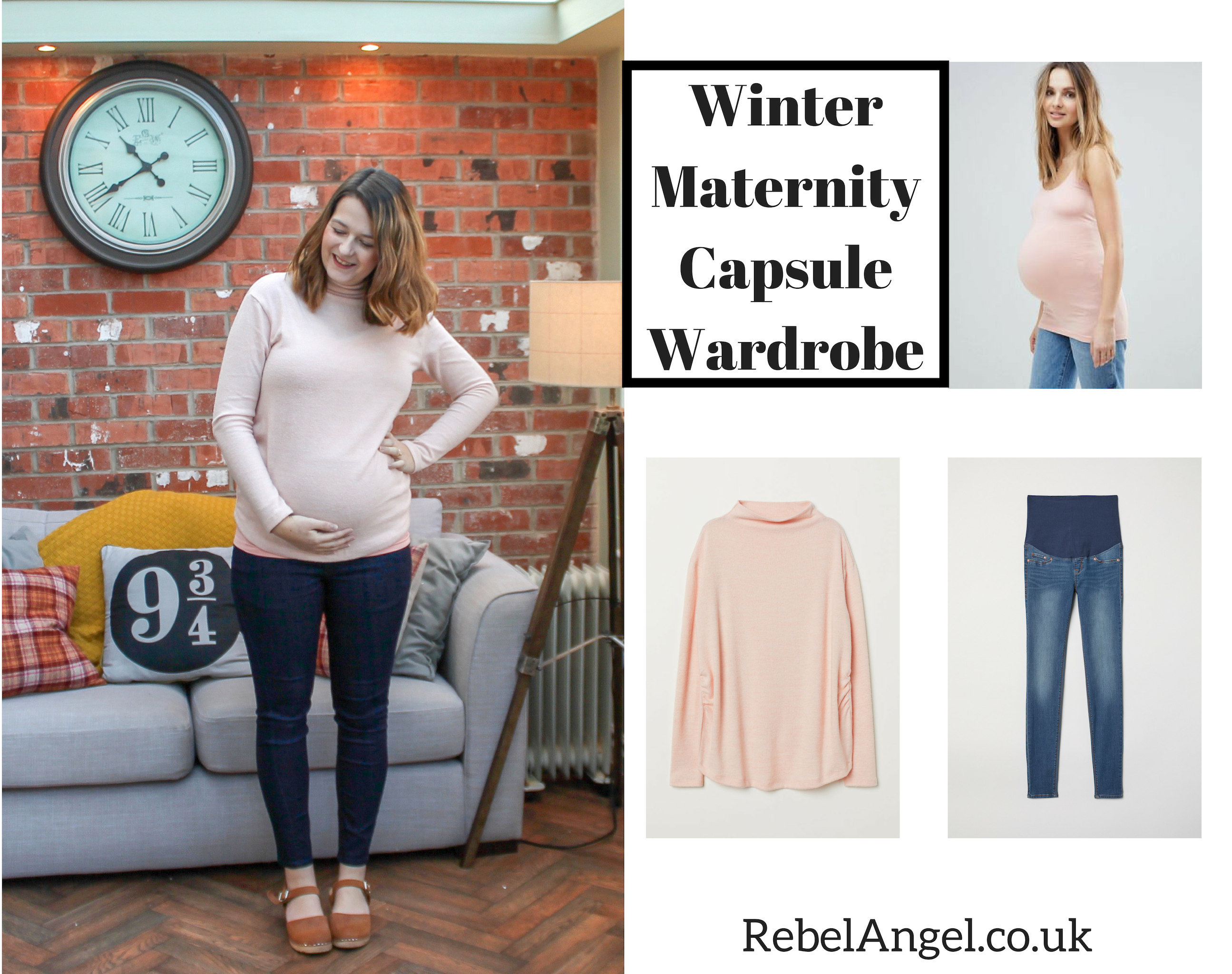Winter Maternity Capsule Wardrobe outfit with pink H&M jumper and jeans